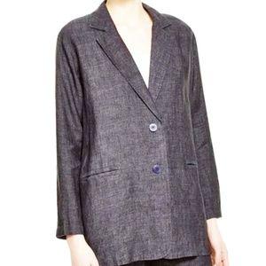 Eileen Fisher Denim Two Button Blazer Linen Medium